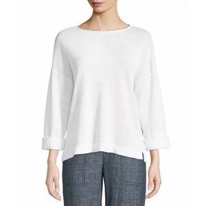 Eileen Fisher Linen Round Neck Knit Sweater